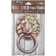 "7 Gypsies Architextures Treasures Adhesive Embellishments - Lion Door Knocker 4"""