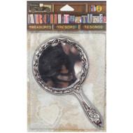 "7 Gypsies Architextures Treasures Adhesive Embellishments - Tarnished Silver Handle Mirror 4.75"""