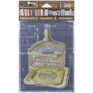 "7 Gypsies Architextures Treasures Adhesive Embellishments - Metal Birdcage 4"""