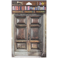 "7 Gypsies Architextures Treasures Adhesive Embellishments - Distressed Wooden Door Set 4.25"""