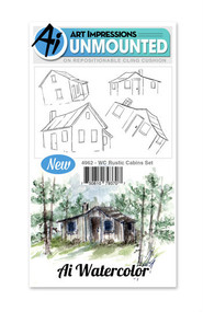 Art Impressions - Watercolor Cling Rubber Stamp - Rustic Cabin Set (AI4962)