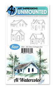 Art Impressions - Watercolor Cling Rubber Stamp - Mini Cottage Set (AI4961)