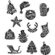 Tim Holtz Cling Rubber Stamp - Mini Carved Christmas (CMS316)