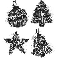 Tim Holtz Cling Rubber Stamp - Carved Christmas 2 (CMS314)