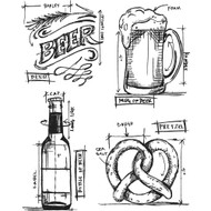 Tim Holtz Cling Rubber Stamp - Beer Blueprint (CMS334)