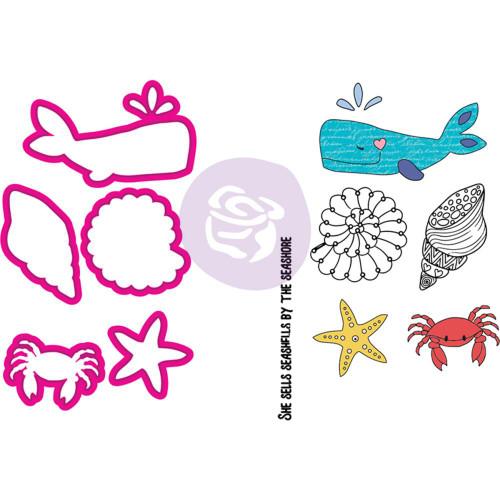 Prima Marketing - Julie Nutting Stamp & Die - Mermaid Kisses Sea Life