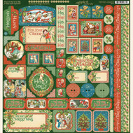 Graphic 45 - Christmas Magic - 12 x 12 Sticker Sheet