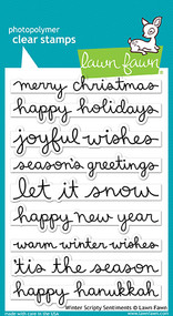 Lawn Fawn Winter Scripty Sentiments Clear Stamp