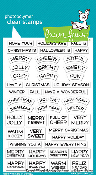 Lawn Fawn Winter Reveal Wheel Holiday Sentiments Clear Stamp