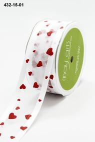 Sheer Satin Edge w/Hearts White/Red