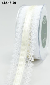 White Lace Ivory Satin Center