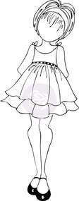 Mixed Media Doll with Ruffle Dress