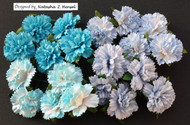 Wild Orchid Crafts Carnation -  Mixed Blue Tone (20 pc)