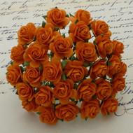 10mm Mulberry Open Roses - Orange