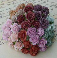 Wild Orchid Crafts Mixed Vintage Colors Open Roses 10 mm