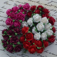 Wild Orchid Crafts Mixed Red Tone Open Roses 10 mm