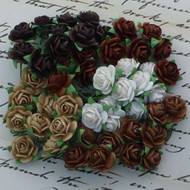 Wild Orchid Craft Mixed Browns 10 mm Open Rose