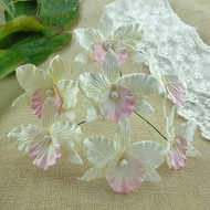 Wild Orchid Crafts Orchids Large White with Baby Pink