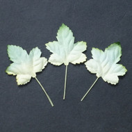 Wild Orchid Crafts Gardenia - 2-Tone Green/White Maple Leaves 45 mm