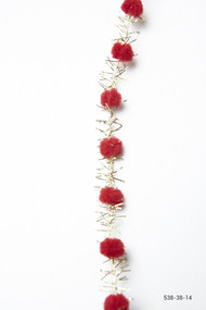May Arts - Pom Pom w/Fringe (wired) - Red/Gold