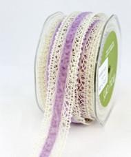 """May Arts - Crochet /Velvet Center 1"""" - Ivory/Lavender"""