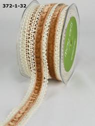 """May Arts - Crochet /Velvet Center 1"""" - Ivory/Antique Gold"""