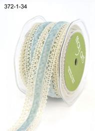 """May Arts -  Crochet /Velvet Center 1""""- Ivory/Light Blue"""