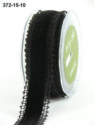 """May Arts - Crochet /Velvet Center 1.5"""" - Black/Black"""