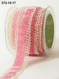 """May Arts - Crochet /Velvet Center 1.5"""" - Ivory/Pink"""