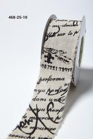 "May Arts - Cotton Blend 2.5"" Vintage Inspired Black Script"