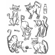 Tim Holtz Cling Rubber Stamp Crazy Cats (CMS251