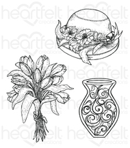 Heartfelt Creations Cling Stamp Set - Bouquet (HCPC-3723 )