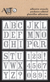 ArtC Adhesive Stencil Set - 3 x 4 Set of 4 - Upper Alphabet (25696)