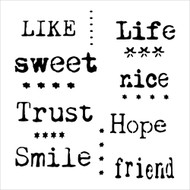 The Crafters Workshop 6 x 6 Stencil - Life Words (TCW623)