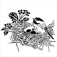 The Crafters Workshop 6 x 6 Stencil - Bird Nest (TCW608)