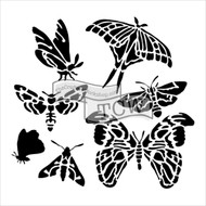 The Crafters Workshop 6 x 6 Stencil - Graceful Moths (TCW580)