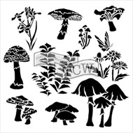 The Crafters Workshop 6 x 6 Stencil - Whimsical Shrooms