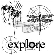The Crafters Workshop 6 x 6 Stencil - Winged Exploration (TCW566)