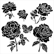 The Crafters Workshop 6 x 6 Stencil - Cabbage Roses (TCW514)