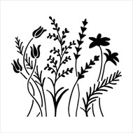 The Crafters Workshop 6 x 6 Stencil - Wildflowers (TCW433)