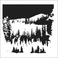 The Crafters Workshop 6 x 6 Stencil - Snowy Treescape (TCW337)