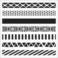 The Crafters Workshop 6 x 6 Stencil - Pattern Strips (TCW317)