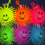 "4"" Happy Face Flashing Puffer Ball 24 per display bx .60 ea"