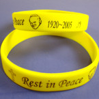 Yellow Silicone Band Bracelet Rest in Peace Pope