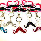 "2.25"" Glitter Mustache Fashion Keychains w/ Counter Display 36 pc unit .40 ea"