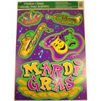 """12"""" X 17"""" Mardi Gras Window Cling 12 per pack"""