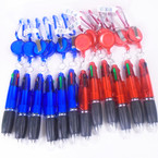 Red & Blue Retractable Transparent 4-Color Pen on  Clip 12 per pk  .58 ea