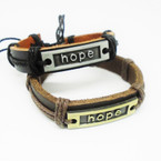 Teen Leather Bracelet w/ Hope Plaque .54 EACH
