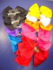 "6"" Gro Grain Fashion Bow on Gator Clip w/ Gold Wrapped Center .50 ea"