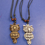 "20"" DBL Leather Cord Necklace w/ Owl Pendant  .54 ea"